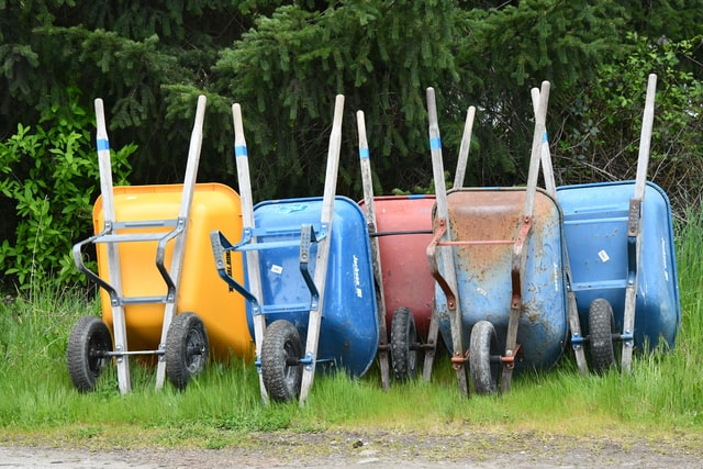 colourful wheelbarrows lined up in a row